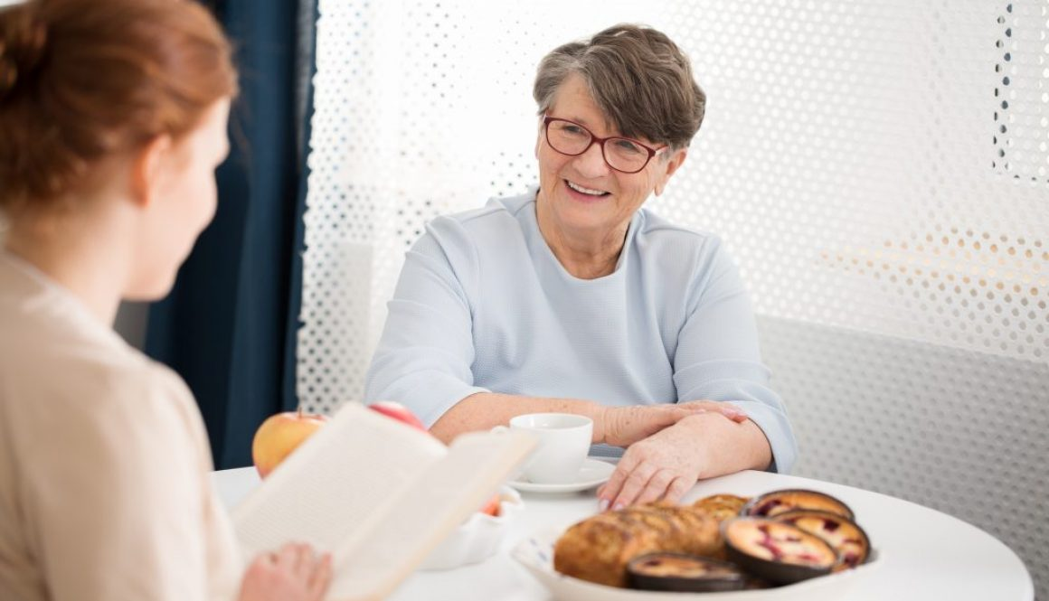 Senior listening to caregiver